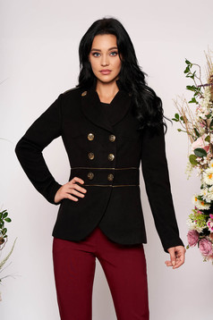 Black jacket elegant short cut thick fabric closure with gold buttons long sleeve
