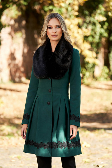 Darkgreen coat elegant long cloche fur collar from ecological fur with buttons