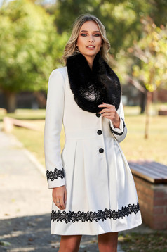 White coat elegant long cloche fur collar from ecological fur with buttons