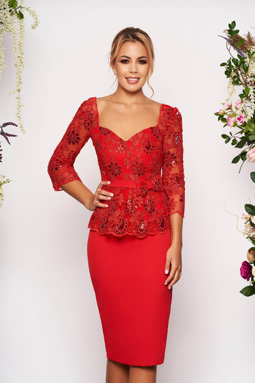 Red dress occasional midi pencil with 3/4 sleeves with sequin embellished details with v-neckline