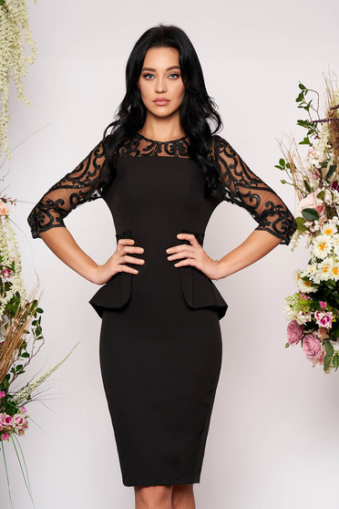 Black dress occasional midi pencil with 3/4 sleeves with sequin embellished details peplum