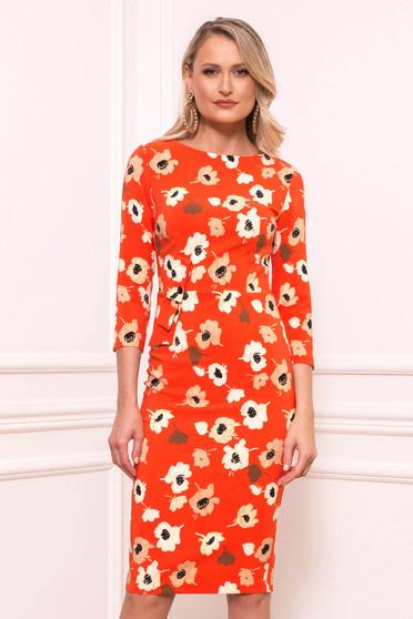 Orange elegant midi scuba dress with 3/4 sleeves and floral print