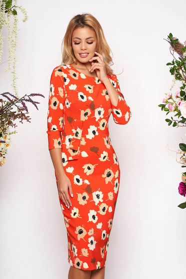 Orange elegant midi scuba dress with 3/4 sleeves and floral print