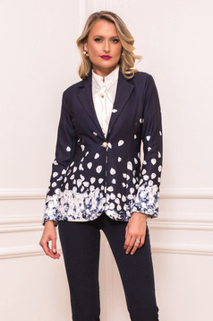 Darkblue jacket elegant short cut tented long sleeved with inside lining with padded shoulders