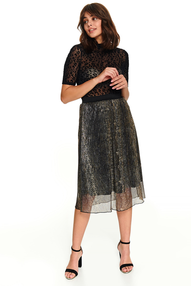 Black snake print casual midi cloche skirt from veil fabric with elastic waist