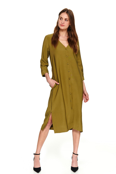 Green midi daily flared dress accessorized with tied waistband and pockets