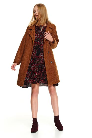 Peach casual flared coat with pockets and metal eyelets fastening