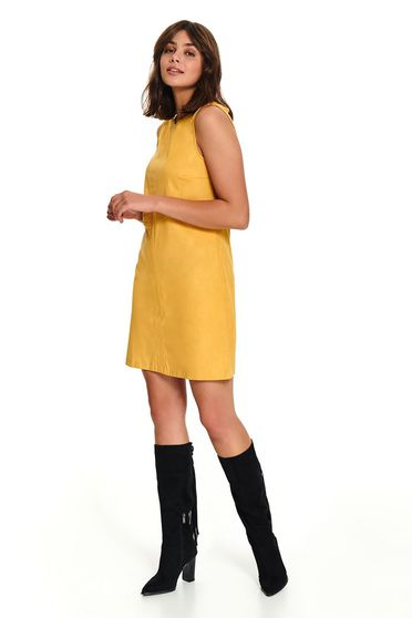 Yellow casual short cut daily sleeveless dress with straight cut