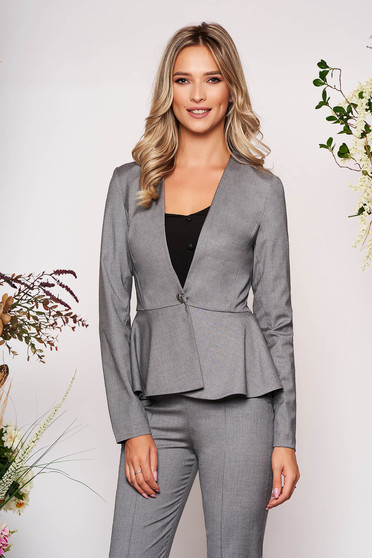 StarShinerS grey jacket elegant short cut cloth slightly elastic fabric long sleeved with inside lining