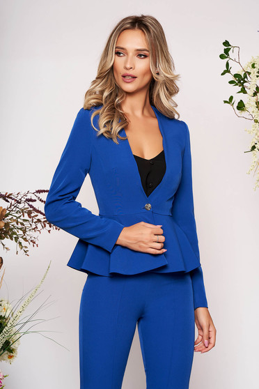 StarShinerS blue jacket elegant short cut cloth slightly elastic fabric long sleeved with inside lining
