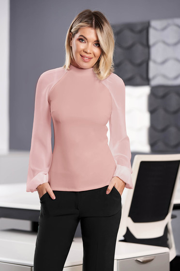 StarShinerS lightpink women`s blouse elegant from elastic fabric long sleeved with easy cut