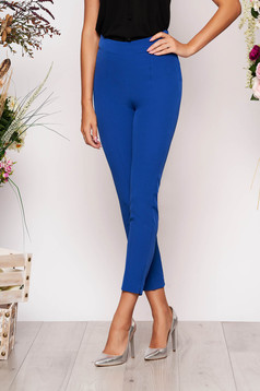 StarShinerS blue elegant office trousers high waisted slightly elastic fabric with pockets