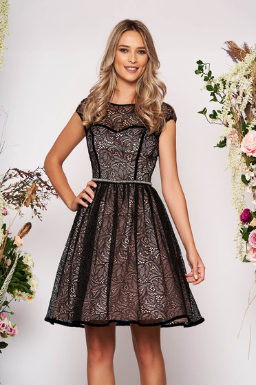 Flaring cut short cut manual embroidered lace accessorized with tied waistband short sleeves