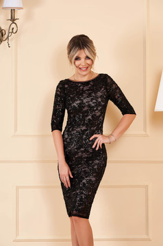 StarShinerS black dress occasional short cut pencil laced with sequin embellished details with 3/4 sleeves with inside lining