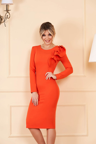 Dress StarShinerS orange with tented cut slightly elastic fabric with ruffled sleeves