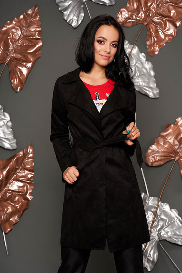 Black trenchcoat casual straight with pockets faux leather detachable cord