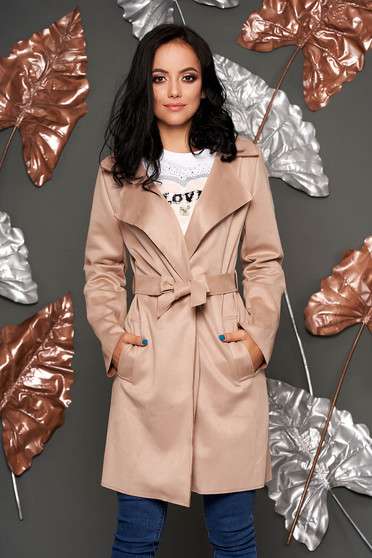 Cream trenchcoat casual straight with pockets faux leather detachable cord
