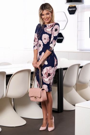 StarShinerS darkblue dress elegant short cut pencil neckline with 3/4 sleeves without clothing