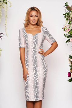 StarShinerS lightpink dress occasional midi pencil short sleeves back slit with floral print