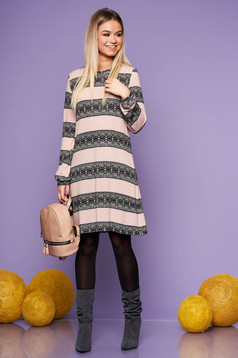 StarShinerS lightpink daily flared dress long sleeved thin fabric