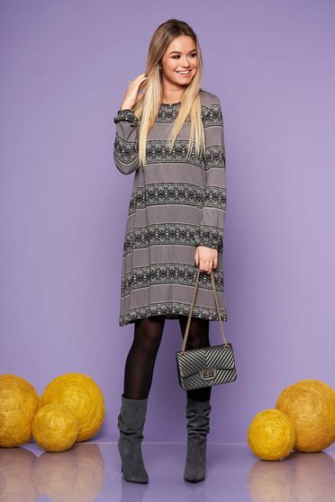 StarShinerS grey daily flared dress long sleeved thin fabric
