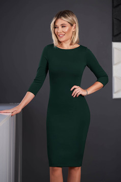 StarShinerS green dress office midi pencil neckline with 3/4 sleeves from elastic fabric back slit