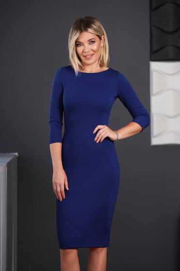 StarShinerS blue dress office midi pencil neckline with 3/4 sleeves from elastic fabric back slit