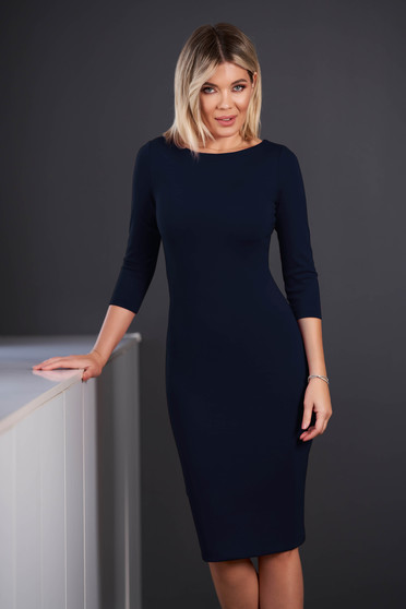 StarShinerS darkblue dress office midi pencil neckline with 3/4 sleeves from elastic fabric back slit