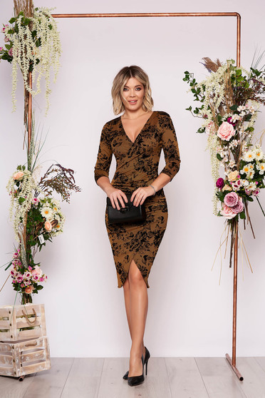 StarShinerS mustard dress elegant short cut asymmetrical pencil with v-neckline wrap over front with 3/4 sleeves with floral print