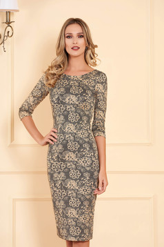 StarShinerS gold dress elegant midi pencil with rounded cleavage with 3/4 sleeves
