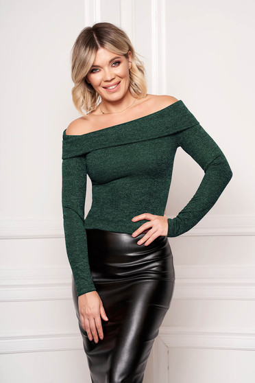 StarShinerS green sweater elegant short cut tented long sleeved naked shoulders knitted fabric