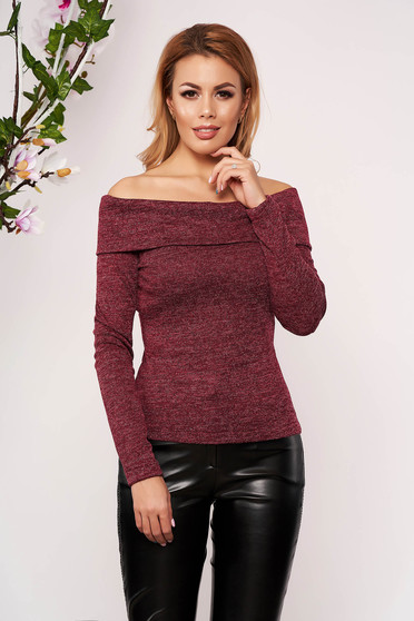 StarShinerS burgundy sweater elegant short cut tented long sleeved naked shoulders knitted fabric