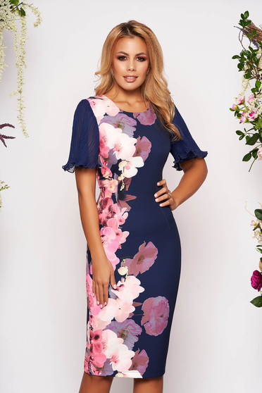 StarShinerS darkblue dress occasional pencil midi cloth with veil sleeves with butterfly sleeves with floral print