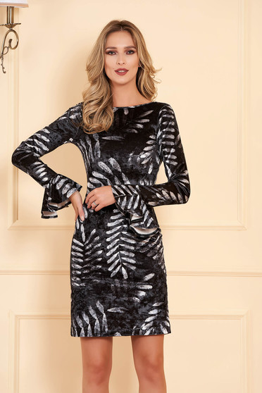 StarShinerS grey occasional short cut pencil velvet dress with bell sleeves and v back neckline