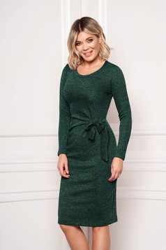 StarShinerS green dress elegant midi pencil knitted fabric accessorized with tied waistband without clothing