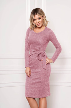 StarShinerS lightpink dress elegant midi pencil knitted fabric accessorized with tied waistband without clothing
