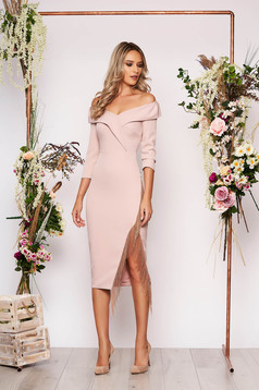 Lightpink dress occasional midi pencil cloth fringes cut material naked shoulders