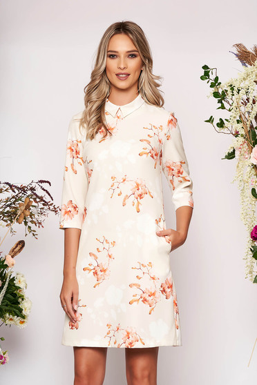 Nude dress elegant short cut a-line with floral print scuba with collar with pockets