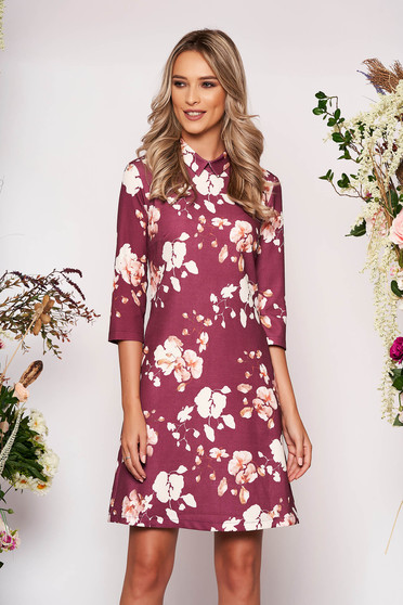 Brown dress elegant short cut a-line with floral print scuba with collar with pockets