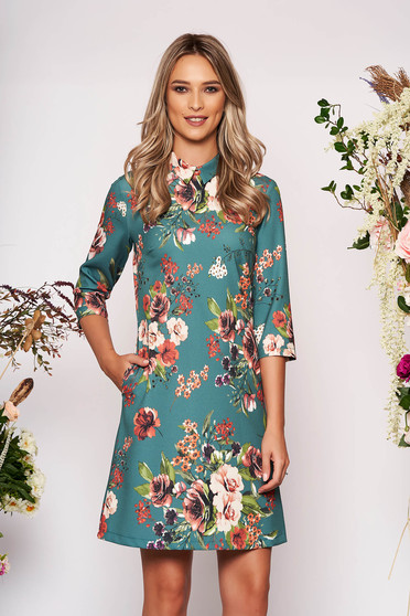 Green dress elegant short cut a-line with floral print scuba with collar with pockets