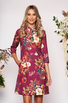 Purple dress elegant short cut a-line with floral print scuba with collar with pockets