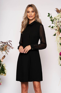 Black dress occasional a-line midi with collar cloth long sleeve with pockets transparent sleeves