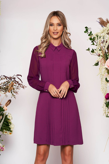 Purple dress occasional a-line midi with collar cloth long sleeve with pockets transparent sleeves