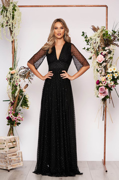 Black dress occasional long cloche from tulle dots print with deep cleavage large sleeves transparent sleeves with 3/4 sleeves