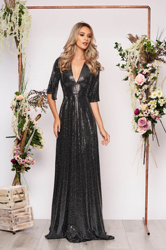 Black dress occasional long cloche with sequins with deep cleavage with 3/4 sleeves large sleeves