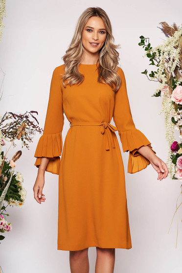 Mustard dress elegant midi straight cloth long sleeved neckline detachable cord