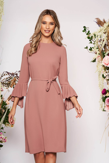 Cappuccino dress elegant midi straight cloth long sleeved neckline detachable cord