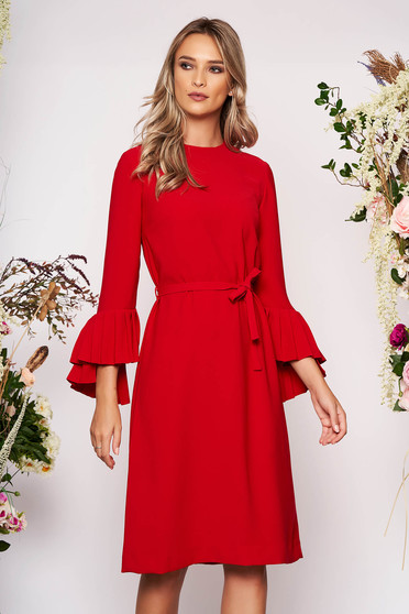 Red dress elegant midi straight cloth long sleeved neckline detachable cord