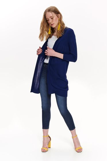 Darkblue sweater casual cardigan long sleeved flared with no closure