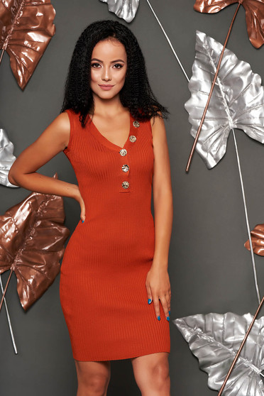 Bricky dress daily short cut pencil sleeveless with v-neckline from elastic fabric knitted with button accessories